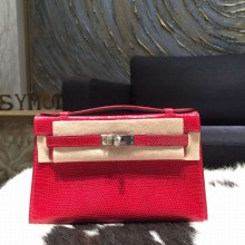 Hermes Mini Kelly Pochette 22cm Lizard Palladium Hardware, Moyen RS21090