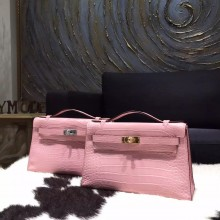 Hermes Mini Kelly Pochette 22cm Matte Alligator Crocodile Skin Handstitched, Pink 5P RS12565