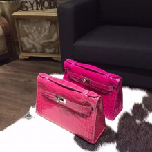 Hermes Mini Kelly Pochette 22cm Shiny Alligator Palladium Hardware Handstitched, Fuschia Pink J5 RS16373