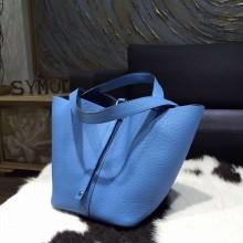 Hermes Picotin 18cm/22cm Lock Bag Taurillon Clemence Calfskin Palladium Hardware Handstitched, Blue Paradise 2T RS14220