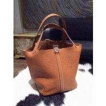 Hermes Picotin Lock Bag 18cm/22cm Taurillon Clemence Palladium Hardware Fully Hand Stitched, Gold CK37 RS03769