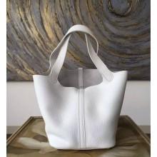 Hermes Picotin Lock Bag 18cm/22cm Taurillon Clemence Palladium Hardware Hand Stitched, Blanc CK01 RS15921