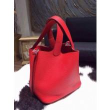 Hermes Picotin Lock Bag 22cm Taurillon Clemence Palladium Hardware Hand Stitched, Rouge Casaque Q5 RS10173