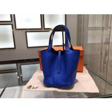 Hermes Picotin Lock Taurillon Clemence Leather Palladium Hardware High Quality, Blue Electric 7T RS10417