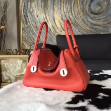 Imitation Best Hermes Lindy 26cm/30cm Swift Calfskin Bag Handstitched Palladium Hardware, Rose Jaipur T5 RS21365