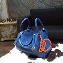 Imitation Best Hermes Lindy 26cm/30cm Taurillon Clemence Calfskin Bag Handstitched, Blue de Galice S7 RS03953
