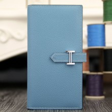 Imitation Hermes Bearn Gusset Wallet In Jean Blue Epsom Leather RS01075