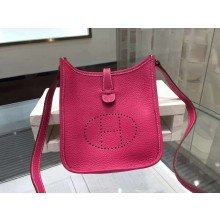 Imitation Hermes Evelyne Mini TPM Taurillon Clemence Palladium Hardware Handstitched High Quality, Fuschia Pink 5J RS07597