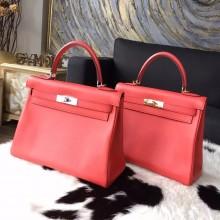 Imitation Hermes Kelly 28cm Swift Calfskin Bag Handstitched Gold/Palladium Hardware, Rose Jaipur T5 RS03672