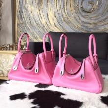 Imitation Hermes Lindy 26cm/30cm Swift Calfskin Bag Handstitched Palladium Hardware, Pink 5P RS00513