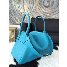Imitation Hermes Lindy 26cm/30cm Taurillon Clemence Calfskin Palladium Hardware Handstitched, Blue Turquoise 7B RS21343