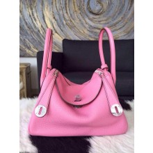 Imitation Hermes Lindy 30cm Taurillon Clemence Calfskin Leather Palladium Hardware Hand Stitched, Pink 5P RS00680