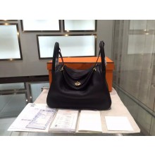 Imitation Hermes Lindy 30cm Taurillon Clemence Leather Palladium Hardware High Quality, Noir, Fuschia Pink 5J RS00192