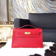 Imitation Hermes Mini Kelly Pochette 22cm Epsom Calfskin Leather Gold Hardware, Rouge Casaque Q5 RS11091