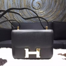 Imitation Luxury Hermes Constance 23cm Epsom Original Leather Handstitched Gold Hardware, Black Noir RS21877