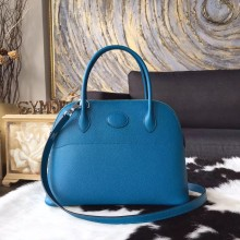 Luxury Hermes Bolide 27cm Epsom Calfskin Leather Bag Palladium Hardware Handstitched, Blue Izmir 7W RS12328