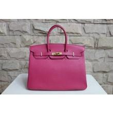 Quality Hermes Birkin 25cm Lizard Skin Original Leather Bag Handstitched Gold Hardware, Fuschia Pink 5J RS01695