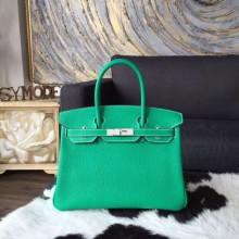 Replica Best Hermes Birkin 30cm Taurillon Clemence Calfskin Bag Handstitched, Menthe 6W RS01691