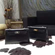 Replica Best Hermes Mini Kelly Pochette 22cm Box Calfskin Leather Handstitched, Noir RS08043