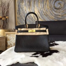 Replica Hermes Birkin 25cm Autruche Ostrich Bag Gold Hardware Handstitched, Noir CK89 RS03889