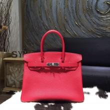 Replica Hermes Birkin 30cm Togo Calfskin Bag Handstitched Palladium Hardware, Rouge Piovine 2R RS15384
