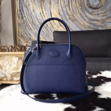 Replica Hermes Bolide 27cm Epsom Calfskin Leather Bag Palladium Hardware Handstitched, Blue Saphir CK73 RS06168
