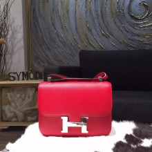 Replica Hermes Constance 23cm Epsom Calfskin Original Leather Handstitched Palladium Hardware, Rouge Casaque Q5 RS09523