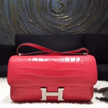 Replica Hermes Constance Elan 23cm Matte Alligator Crocodile Handstitched Palladium Hardware, Bougainvillier A5 RS06711