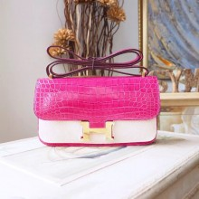 Replica Hermes Constance Elan 23cm Shiny Crocodile Skin Bag Handstitched Gold Hardware, Fuschia Pink 5J RS02619