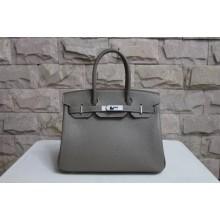 Replica Hermes Horseshoe Birkin 40cm Togo Calfskin Original Leather Bag Handstitched Silver Hardware, Chocolat CK47 RS04370