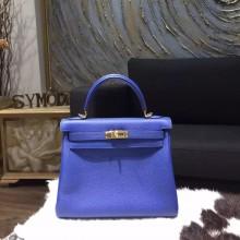 Replica Hermes Kelly 25cm Togo Calfskin Original Leather Bag Handstitched Gold Hardware, Blue Electric 7T RS17841