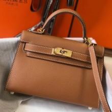 Replica Hermes Kelly Mini II Bag In Original leather 20cm Golden Hardware Brown Bag RS26222