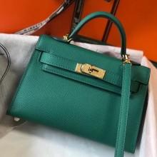 Fake Hermes Kelly Mini II Bag In Original leather 20cm Golden Hardware Bule Bag RS26216