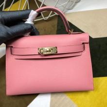 Replica Hermes Kelly Mini II Bag In Original leather 20cm Golden Hardware Pink Bag RS26214