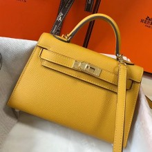 Replica Hermes Kelly Mini II Bag In Original leather 20cm Silver Hardware Yellow Bag RS26218