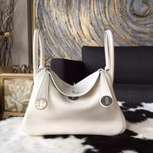 Replica Hermes Lindy 26cm/30cm Swift Calfskin Bag Handstitched Palladium Hardware, Craie CC10 RS08824