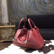 Replica Hermes Lindy 26cm/30cm Taurillon Clemence Calfskin Bag Handstitched, Rouge H CK55 RS06211