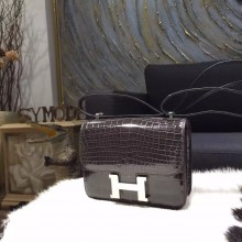 Replica Hermes Mini Constance 18cm Shiny Alligator Crocodile Original Leather Fully Handstitched Palladium Hardware, Grey Black RS01458