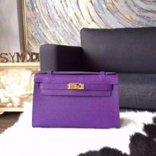 Replica Hermes Mini Kelly Pochette 22cm Epsom Calfskin Leather Gold Hardware Handstitched, Crocus 9W RS21817