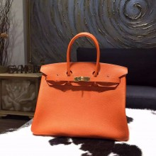 Top Hermes Birkin 35cm Togo Calfskin Leather Bag Gold Hardware Handstitched, Orange CK93 RS17308