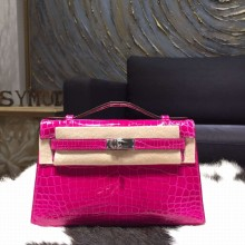 Top Hermes Mini Kelly Pochette 22cm Shiny Alligator Palladium Hardware Handstitched, Rose Scheherazade J5 RS03343