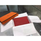 Copy Hermes Calvi Card Holder Case Handstitched Taurillon Clemence Calfskin, Rouge Pimet RS19313