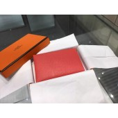 Copy Top Hermes Calvi Card Holder Case Handstitched Taurillon Clemence Calfskin, Rouge Casaque Q5 RS06270