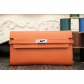 Fake Hermes Kelly Longue Wallet In Crevette Epsom Leather RS18538