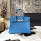 Hermes Birkin 30cm Taurillon Clemence Bag Handstitched Gold Hardware, Blue Paradise 2T RS09557
