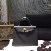 Hermes Kelly 25cm Epsom Calfskin Bag Handstitched Gold Hardware, Noir Black RS16517