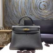 Hermes Kelly 28cm/32cm Togo Calfskin Original Leather Bag Handstitched Gold Hardware, Noir Black RS10639