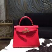 Hermes Kelly 28cm Taurillon Clemence Bag Handstitched Gold Hardware, Rouge Casaque Q5 RS12418