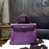 Hermes Kelly 28cm Taurillon Clemence Calfskin Bag Handstitched Palladium Hardware, Ultraviolet 5L RS03250