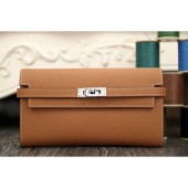 Hermes Kelly Longue Wallet In Brown Epsom Leather RS07014